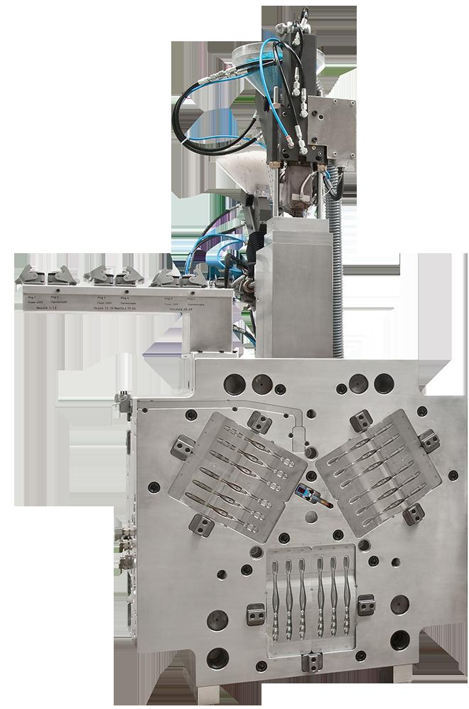 Kundenwerkzeug-mit-2-Babyplast-Zusatzspritzaggregaten-Ansicht-aus-WZ-Trennung